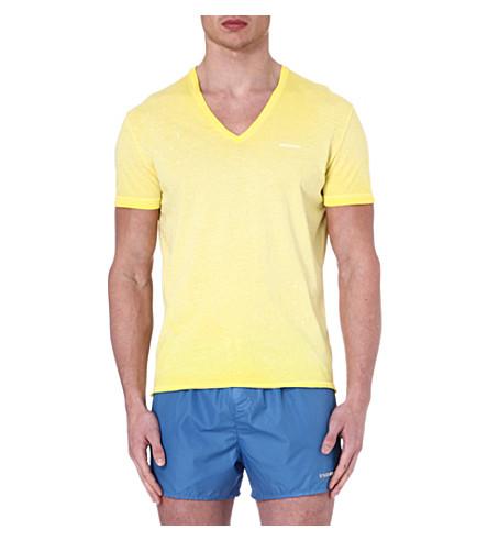 D SQUARED V-neck splatter-detail t-shirt (Yellow