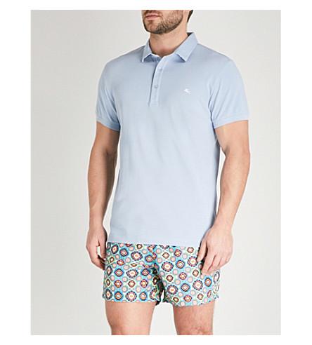 ETRO Pais Collar cotton-piqué polo shirt (Lt+blue