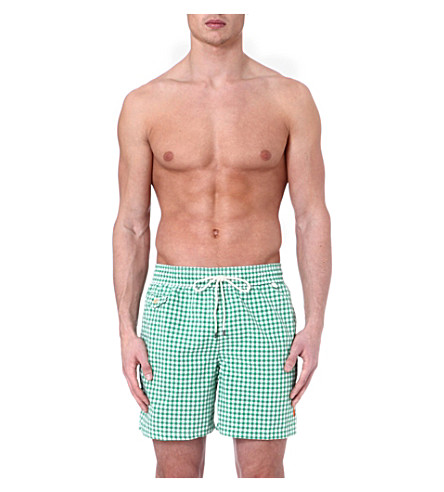 RALPH LAUREN Mini gingham hawaiian swim shorts (Green