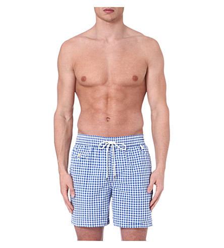 RALPH LAUREN Mini gingham hawaiian swim shorts (Blue