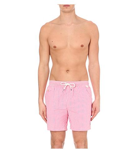POLO RALPH LAUREN Striped seersucker swim shorts (Pink