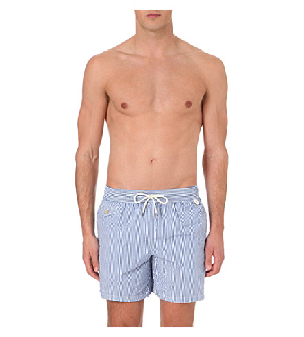 POLO RALPH LAUREN Striped seersucker swim shorts (Royal+blue