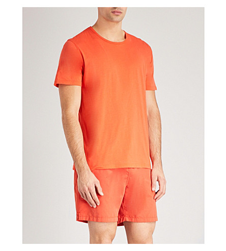 DEREK ROSE Crew cotton-jersey pyjama top (Orange