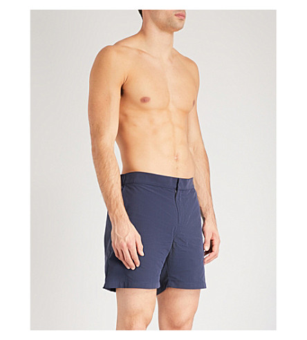 DEREK ROSE Solid swim shorts (Navy