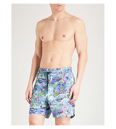 DEREK ROSE Maui indian scene-print classic-fit swim shorts (Blue+multi