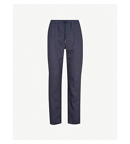 DEREK ROSE Sydney relaxed-fit linen trousers (Navy