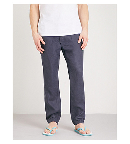 DEREK ROSE Sydney relaxed-fit linen trousers (Navy