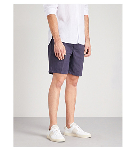 DEREK ROSE Solid linen shorts (Navy