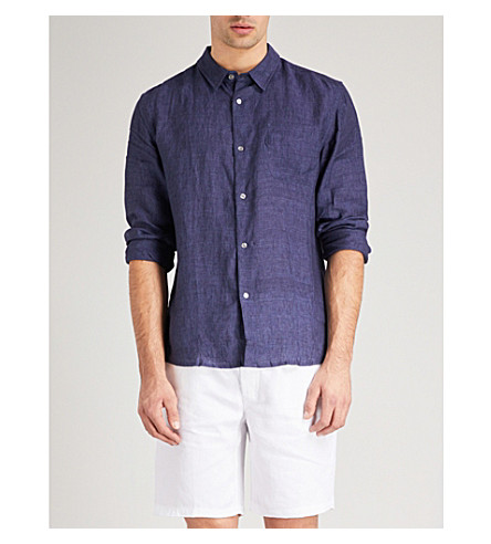 DEREK ROSE Solid linen shirt (Navy