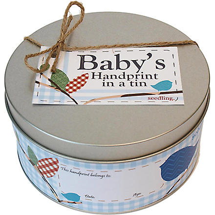 SEEDLING Baby's handprint in a tin