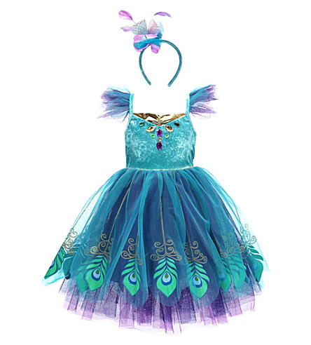 DRESS UP Travis Peacock fairy dress up costume set 3-8 years (Turquoise/purple/gold