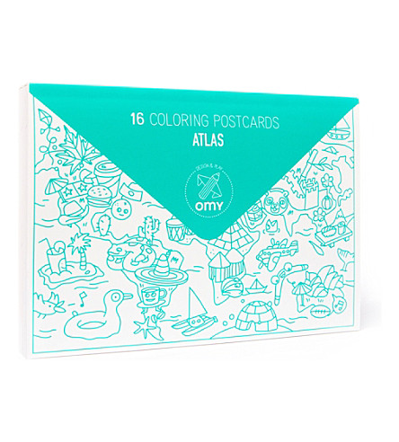 OMY Pack of 16 Atlas postcards