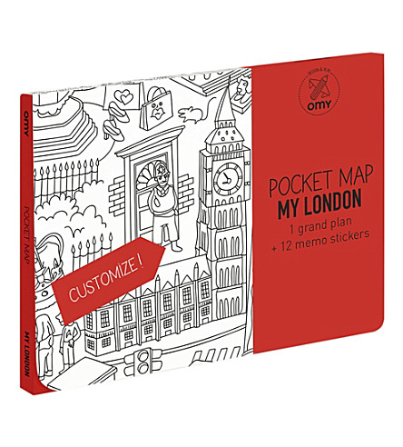 OMY London pocket colouring map