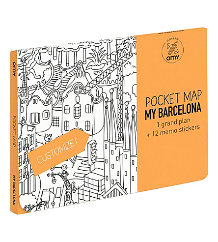 OMY Barcelona pocket colouring map