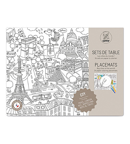 OMY City colouring placemats