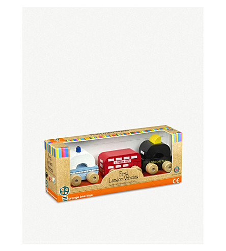 ORANGE TREE TOYS First wooden London vehicle set