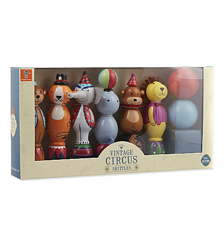 ORANGE TREE TOYS Vintage wooden circus skittles