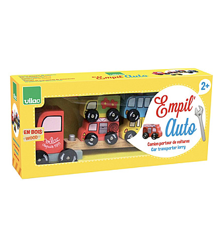 VILAC Truck and trailer wooden car stacking toy