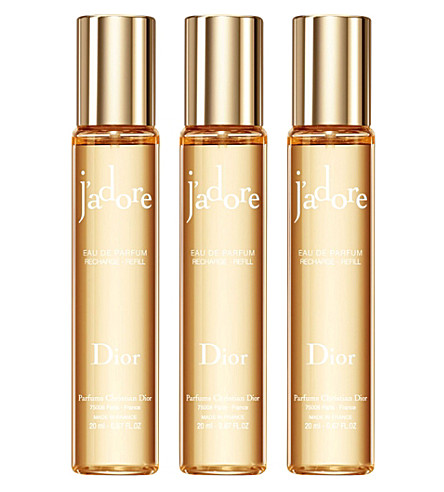 DIOR J'adore eau de parfum purse spray refills 3x20ml