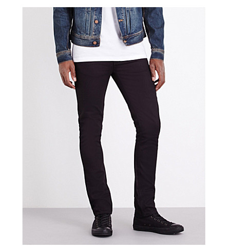 NUDIE JEANS Grim Tim slim-fit straight jeans (Black+ring