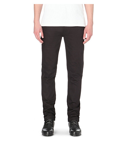 NUDIE JEANS Thin Finn slim-fit tapered jeans (Black+ring