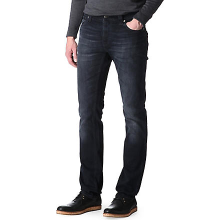NUDIE JEANS Thin Finn slim-fit tapered jeans (Org. black and grey
