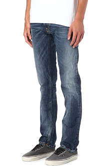 NUDIE JEANS Thin Finn slim-fit midnight worn jeans