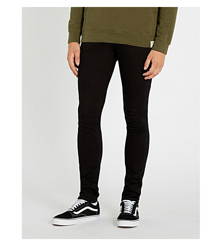 NUDIE JEANS Lin slim-fit skinny jeans (Black+black
