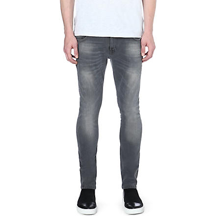 NUDIE JEANS Skinny Lin skinny-fit tapered jeans (Grey