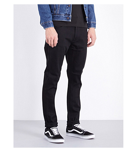 NUDIE JEANS Lean Dean slim-fit tapered jeans (Dry+cold+black
