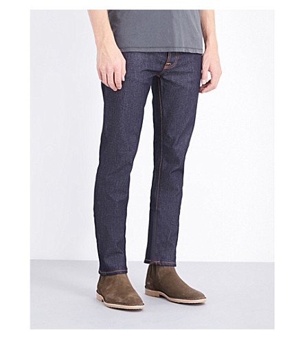 NUDIE JEANS Grim Tim regular-fit straight-leg jeans (Dry+open+navy
