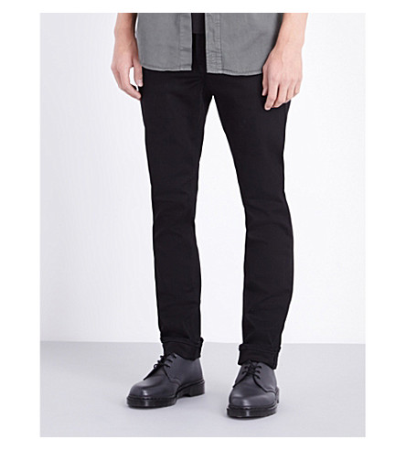 NUDIE JEANS Grim Tim regular-fit straight-leg jeans (Dry+cold+black