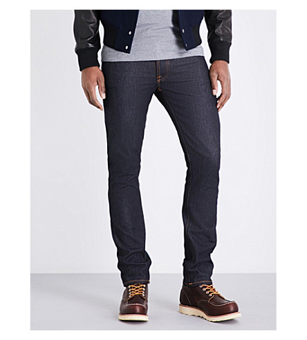 NUDIE JEANS Tilted regular-fit tapered jeans (Dry+pure+navy