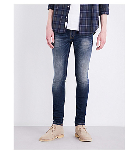 NUDIE JEANS Skinny Lin slim-fit skinny jeans (Dark+double+indigo