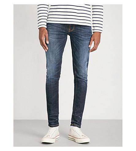 NUDIE JEANS 紧身紧身紧身牛仔裤 (深色 + 对比