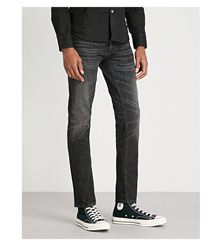 NUDIE JEANS Tilted Tor faded slim-fit tapered jeans (Black+streets