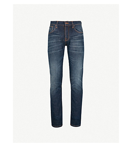NUDIE JEANS Grim Tim regular-fit tapered jeans (Dark+dreams