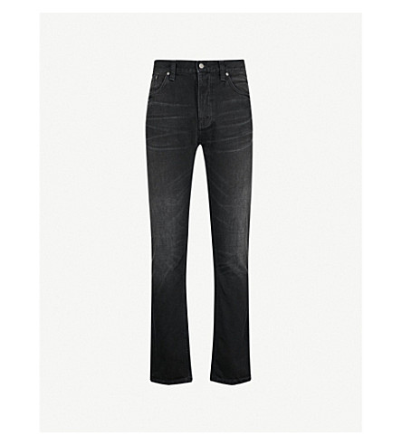 NUDIE JEANS 无畏的弗雷迪常规版型锥形牛仔裤 (破旧 + 黑色
