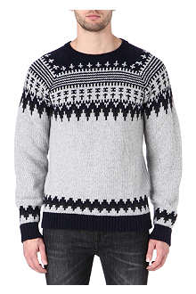 NUDIE JEANS Fair Isle crew knitted jumper