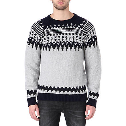 NUDIE JEANS Fair Isle crew knitted jumper (Grey
