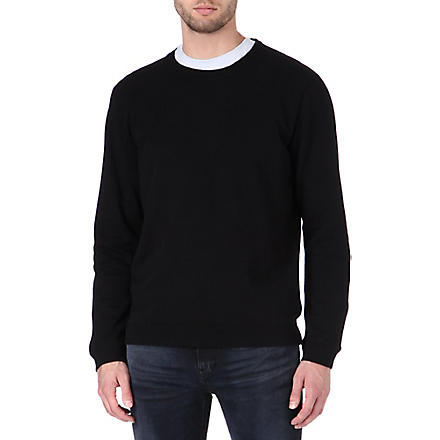 NUDIE JEANS Crew-neck cotton-jersey sweatshirt (Black