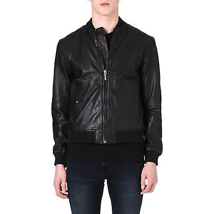 NUDIE JEANS Leather bomber jacket (Black