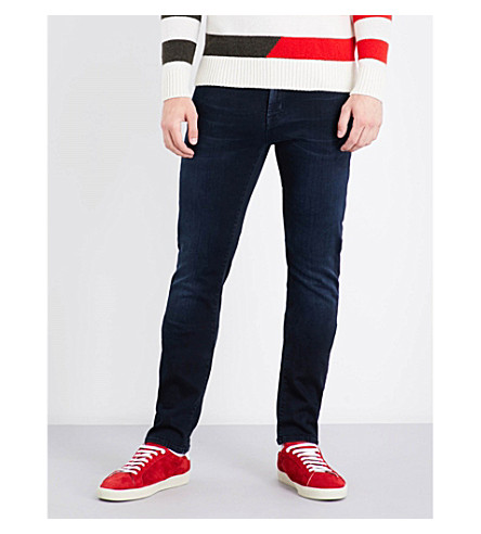 7 FOR ALL MANKIND Ronnie Luxe slim-fit tapered mid-rise jeans (Magnificent+blue+black