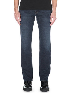 7 FOR ALL MANKIND Slimmy slim-fit straight stretch-denim and cashmere-blend jeans