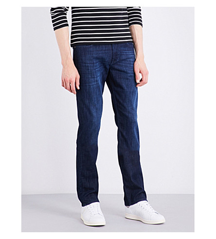 7 FOR ALL MANKIND Slimmy Weightless slim-fit tapered stretch-denim jeans (Dark+blue