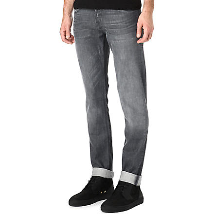 7 FOR ALL MANKIND Grey regular stretch-denim jeans (Grey