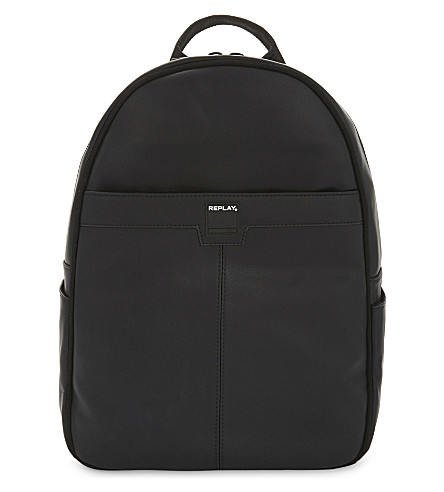REPLAY Faux-leather backpack (Black