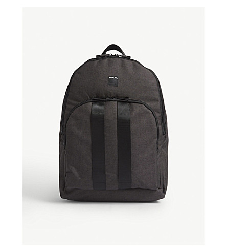 REPLAY Stripe canvas backpack (Black