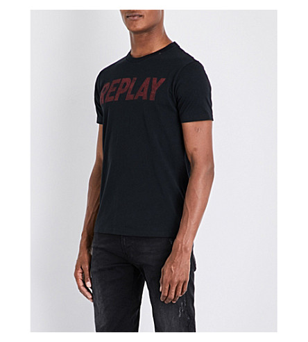 REPLAY Logo-print cotton-jersey T-shirt (Black