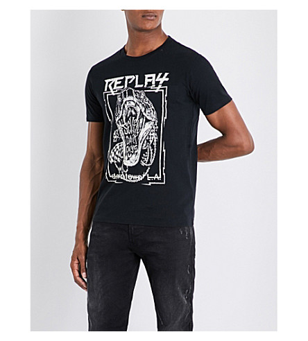 REPLAY Seven Dark Days cotton-jersey T-shirt (Black
